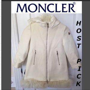 Moncler kids goat fur trim padded hooded coat